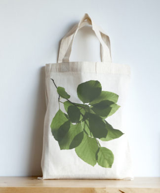 Image of mini tote featuring a beech leaves photographic print