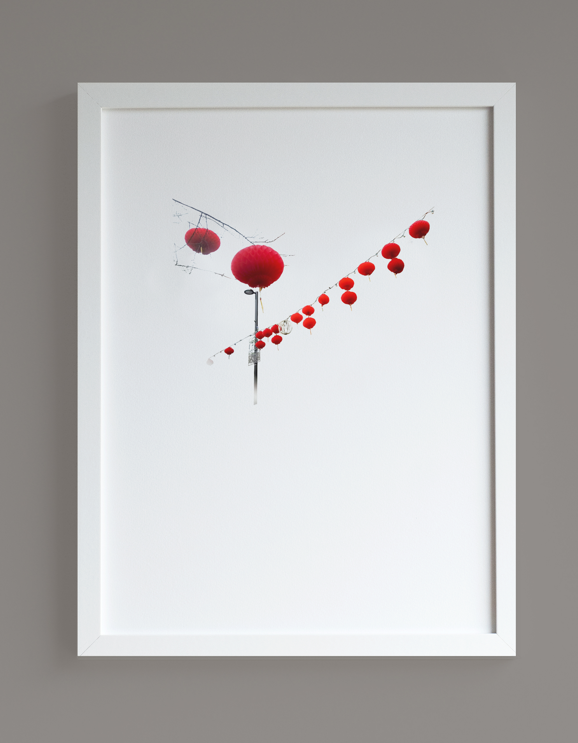 Image of framed print featuring red lanterns photographic print