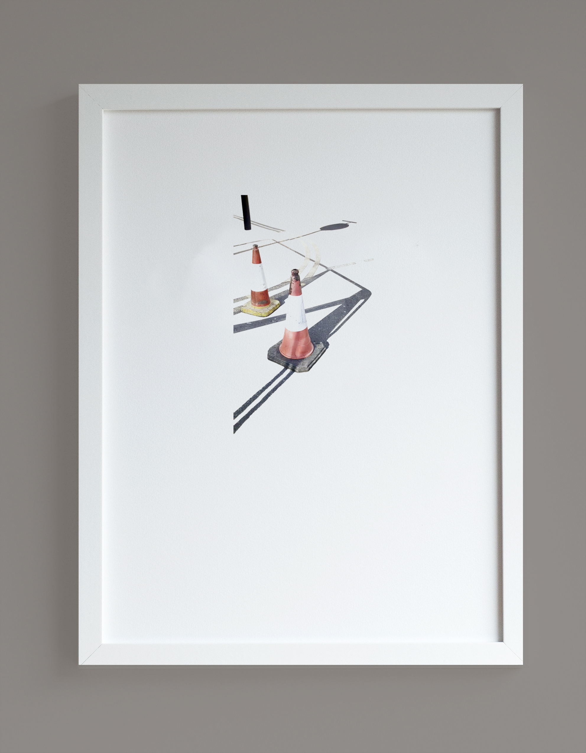 Image of framed print featuring traffic cones photographic print