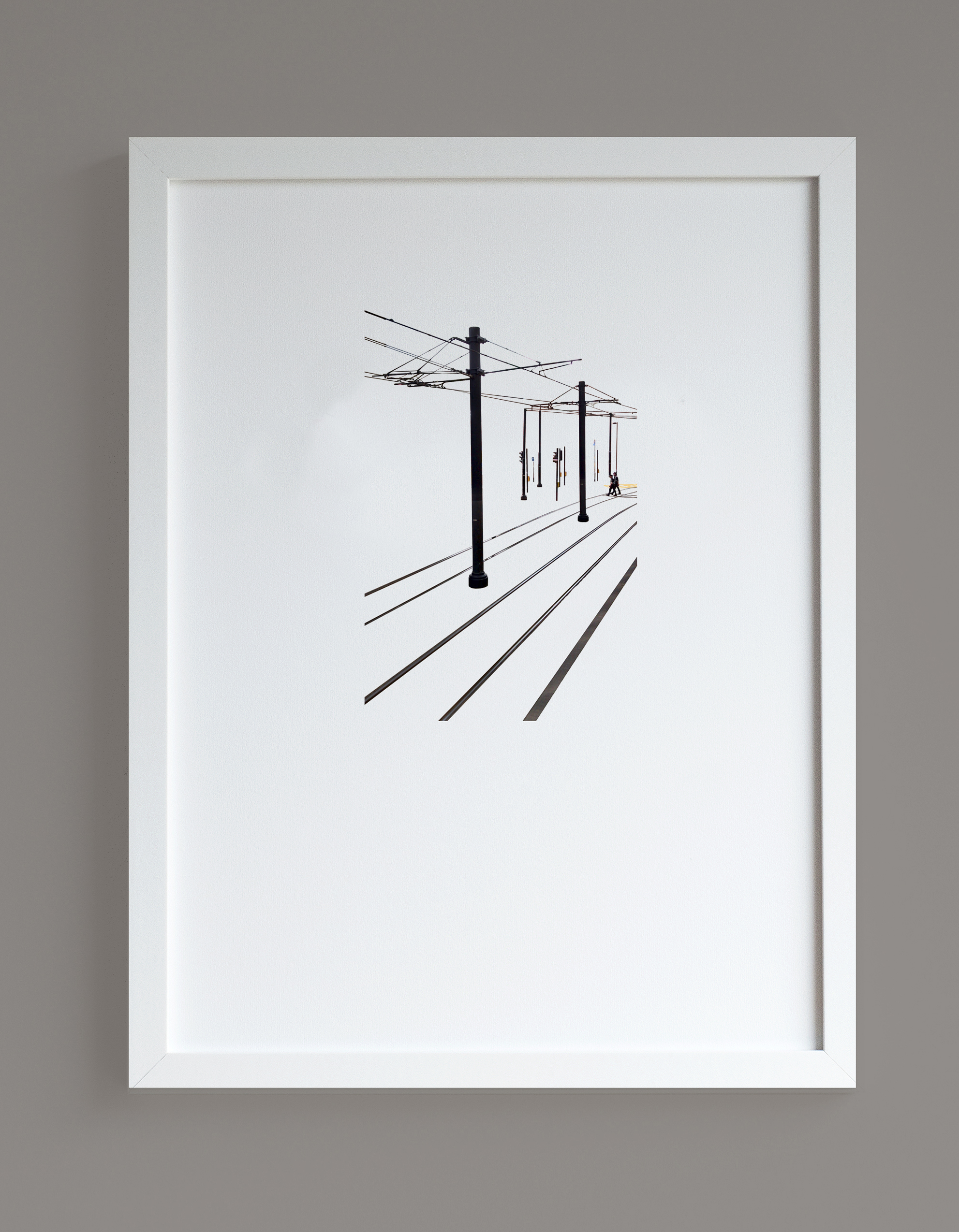 Image of framed print featuring tram tracks photographic print