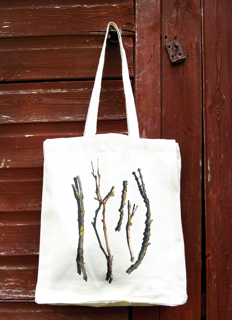 Image of canvas bag featuring sticks and twigs design