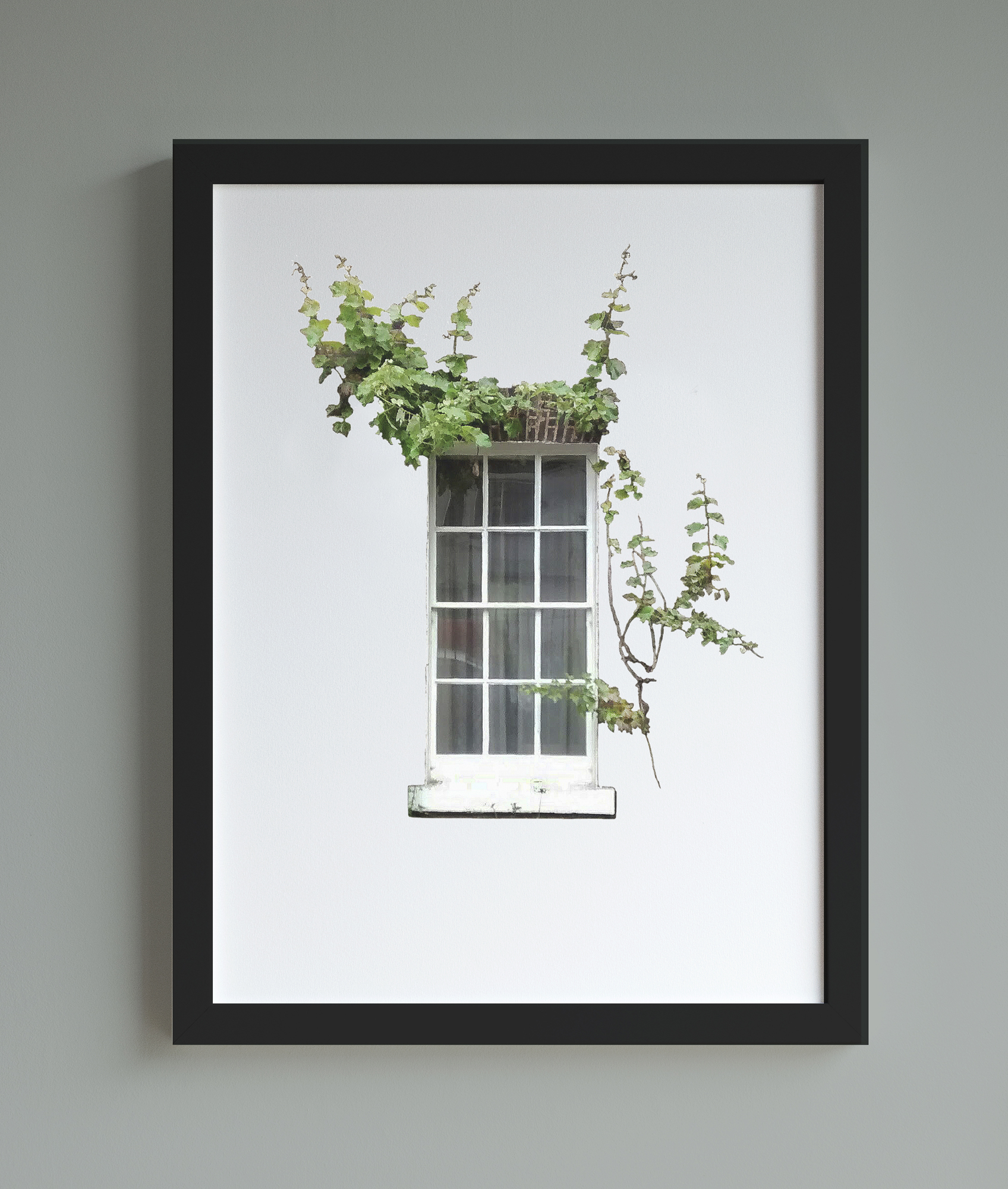 Image of framed print featuring a window surrounded by ivy