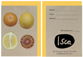 Product image of a gift card featuring citrus fruit