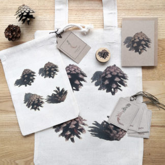 Winter botanicals gift wrap set including eco-friendly note cards, gift tags, gift bags